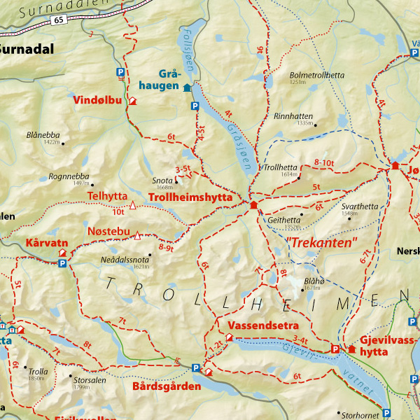 kart over trollheimen eMap   Fritidsguide kart over trollheimen